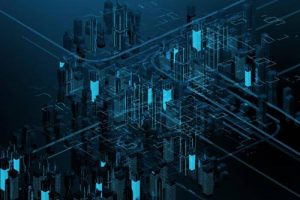 Blue and Black Illuminated Circuit